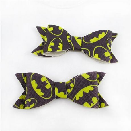 3 X 3 INCH LEATHER FABRIC BATMAN BOW PERFECT FOR HAIR BOWS AND HEADBANDS CRAFTS
